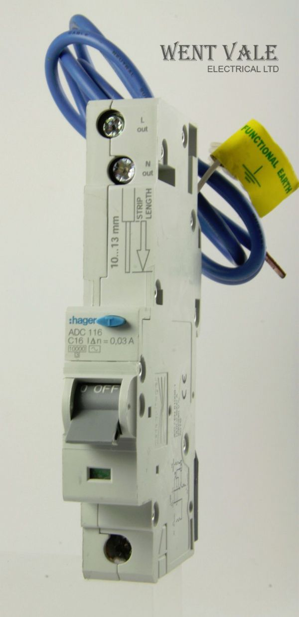 Hager - ADC116 - 16a 30mA Type C Single Pole RCBO Used